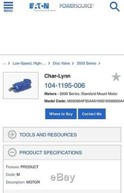 Char-Lynn/Eaton Mod#104-1195-006 Hyd Disc Valve Motor. Brand New In Factory Box